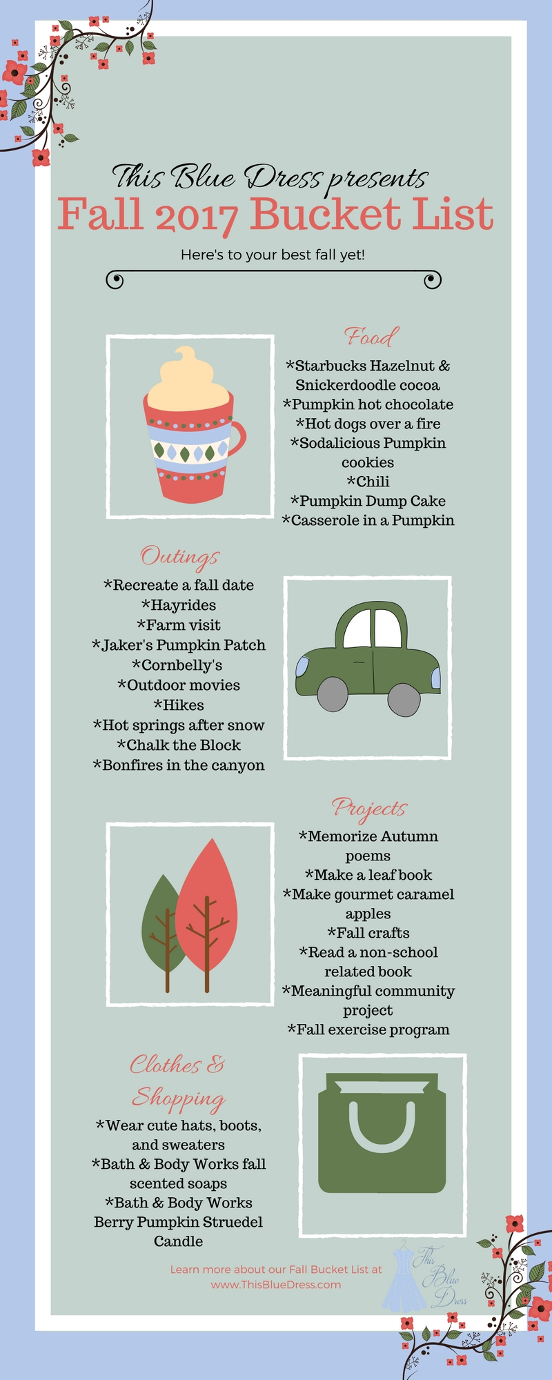 This Blue Dress fall bucket list infographic