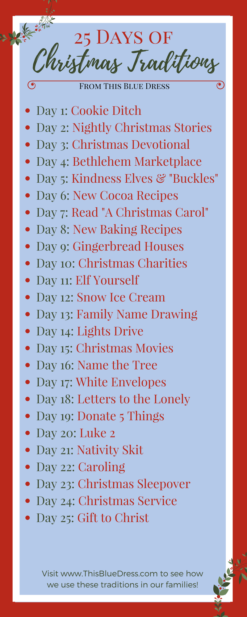 25 Days of Christmas Traditions List