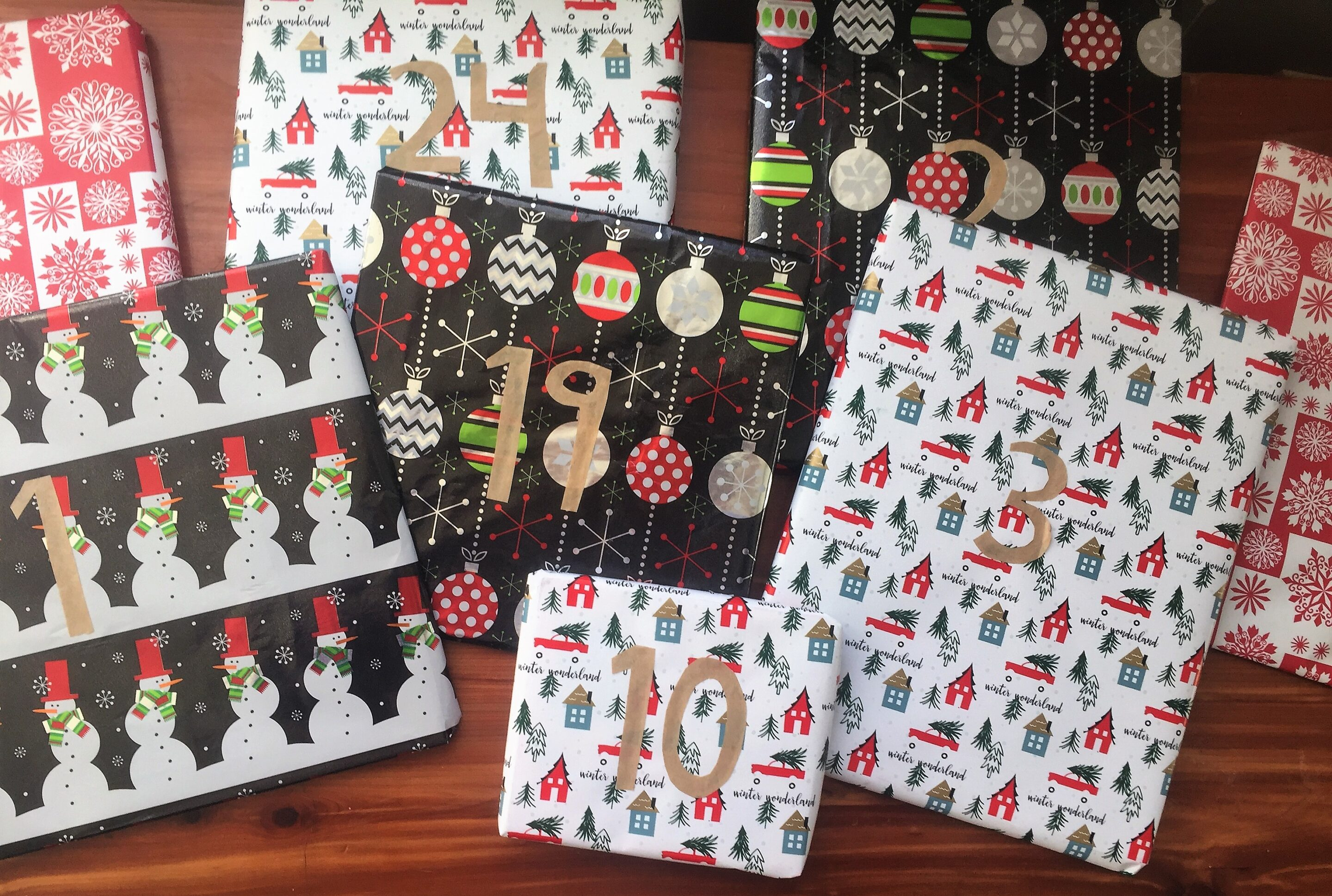 Numbered wrapped books for a Nightly Christmas Stories Advent