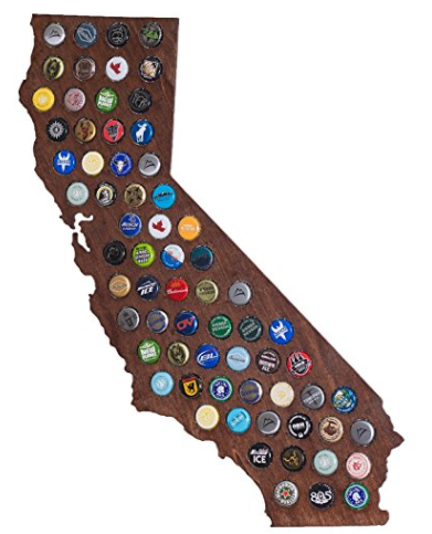 Valentine's Day Gifts California Beer Cap Map