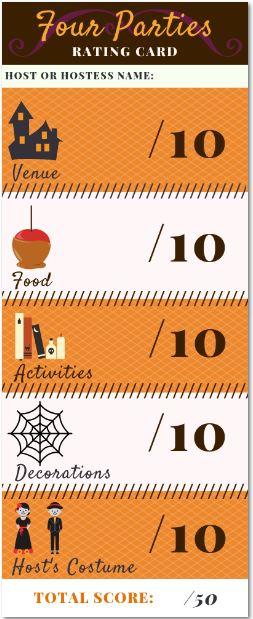 Halloween Four Parties competition printable #familyfun #friends #halloweenparties
