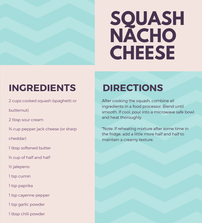 Recipe for squash nacho cheese