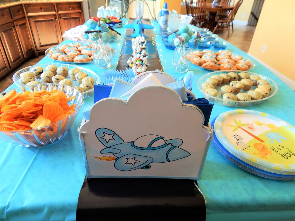 airplane baby shower table spread